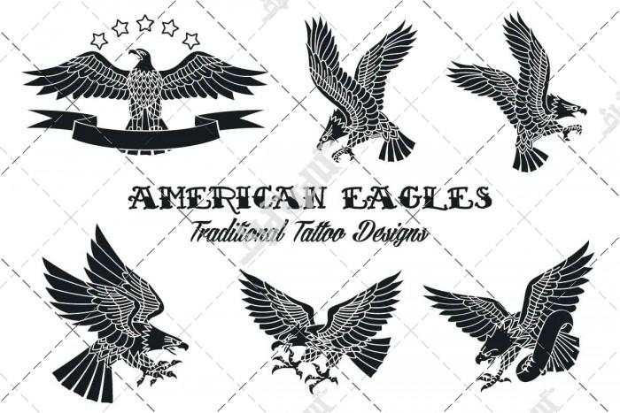دانلود وکتور مجموعه طرح های عقاب برای تاتو